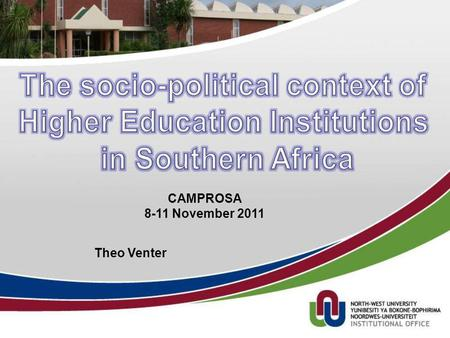 Theo Venter CAMPROSA 8-11 November 2011. Outline 1.On change 2.Mind sets 3.Globalization 4.Revolutions changing the Higher Education environment 5.Sensemaking.