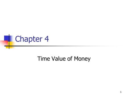 1 Chapter 4 Time Value of Money. 2 Time Value Topics Future value Present value Rates of return Amortization.