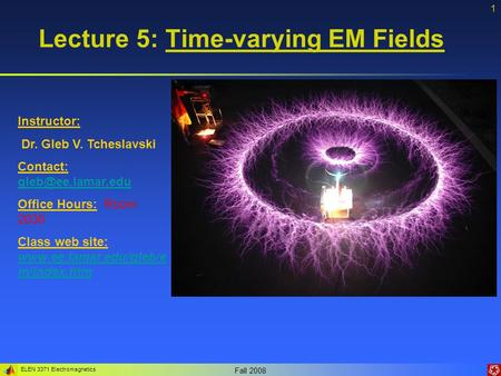 Lecture 5: Time-varying EM Fields