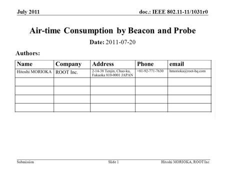 Doc.: IEEE 802.11-11/1031r0 Submission July 2011 Hitoshi MORIOKA, ROOT Inc.Slide 1 Air-time Consumption by Beacon and Probe Date: 2011-07-20 Authors: