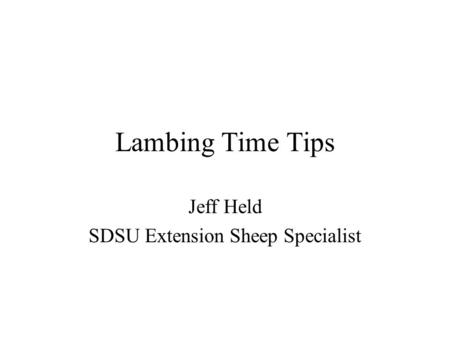 Jeff Held SDSU Extension Sheep Specialist