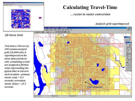 Analysis grid superimposed 2D Street Grid Calculating Travel-Time …vector to raster conversion Note that a 100 row by 100 column analysis grid (10,000.