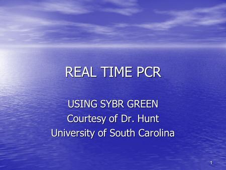 1 REAL TIME PCR USING SYBR GREEN Courtesy of Dr. Hunt University of South Carolina.