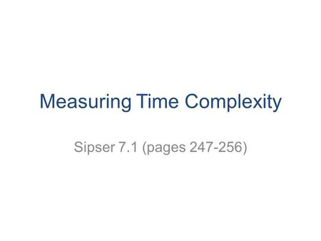 Measuring Time Complexity