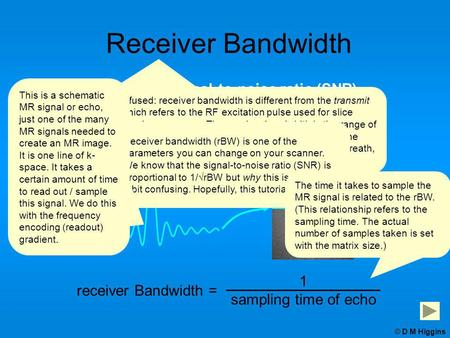 Signal-to-noise ratio (SNR) chemical shift artefact (also the echo time, TE) Receiver Bandwidth affects receiver Bandwidth = 1 sampling time of echo ©
