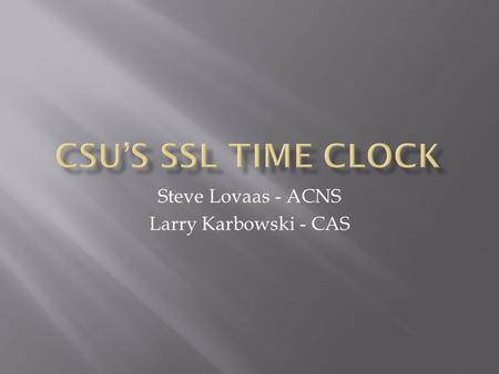 Steve Lovaas - ACNS Larry Karbowski - CAS. Electronic Time Clocks becoming Standard Remote Locations (Off Campus) San Louis Valley Summer Field Help 40+