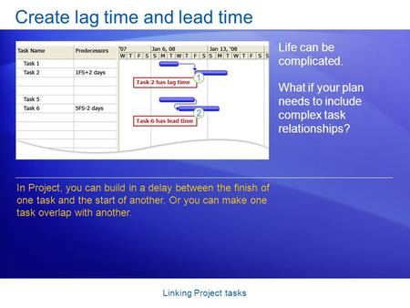 Linking Project tasks Create lag time and lead time Life can be complicated. What if your plan needs to include complex task relationships? In Project,