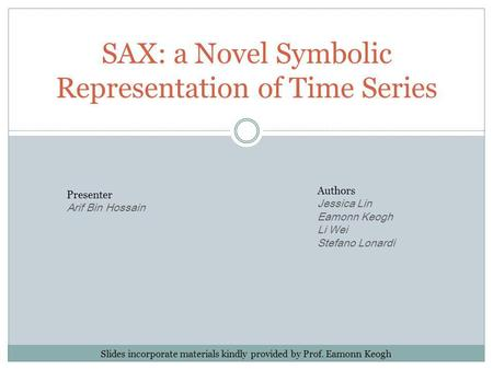 SAX: a Novel Symbolic Representation of Time Series