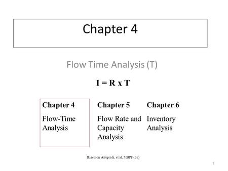 Chapter 4 Flow Time Analysis (T) Chapter 4 Flow-Time Analysis Chapter 5 Flow Rate and Capacity Analysis Chapter 6 Inventory Analysis I = R x T 1 Based.