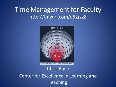 Time Management for Faculty  Chris Price Center for Excellence in Learning and Teaching.