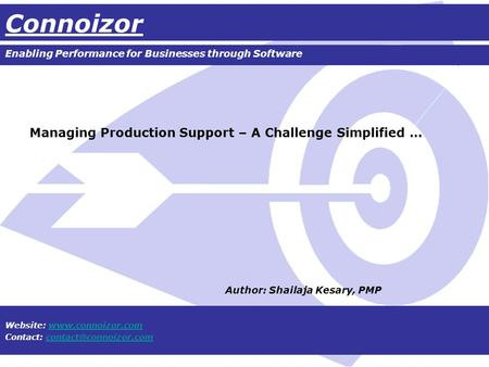 Connoizor Enabling Performance for Businesses through Software Website:  Contact: