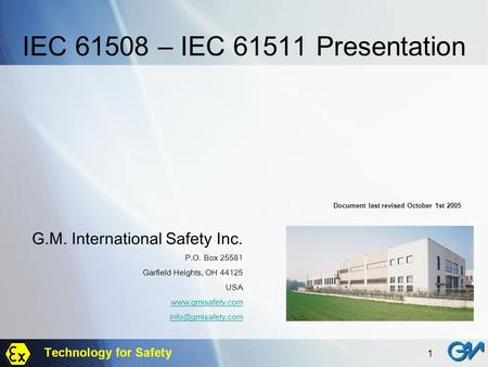 IEC – IEC Presentation G.M. International Safety Inc.