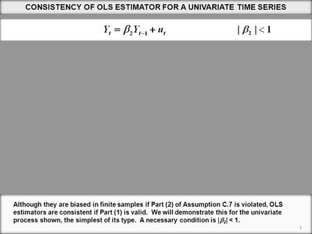 1 Although they are biased in finite samples if Part (2) of Assumption C.7 is violated, OLS estimators are consistent if Part (1) is valid. We will demonstrate.