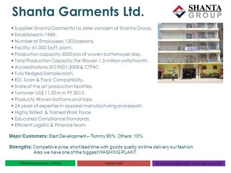Shanta Garments Ltd. Supplier: Shanta Garments Ltd. sister concern of Shanta Group. Established in 1988. Number of Employees: 1203 persons. Facility: