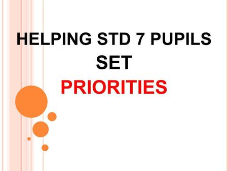 HELPING STD 7 PUPILS SET PRIORITIES. Transitional time: leaving childhood behind. Their lives are changing and their bodies are changing.