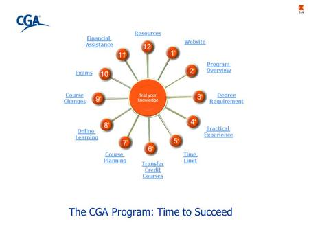 The CGA Program: Time to Succeed Exit Course Changes Resources Transfer Credit Courses Website Degree Requirement Financial Assistance Exams Online Learning.