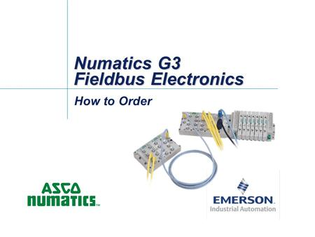 Numatics G3 Fieldbus Electronics How to Order. -2- Whats different when ordering G3? With G3 there are three basic configurations in the platform: 1.
