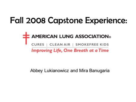 Fall 2008 Capstone Experience: Abbey Lukianowicz and Mira Banugaria.
