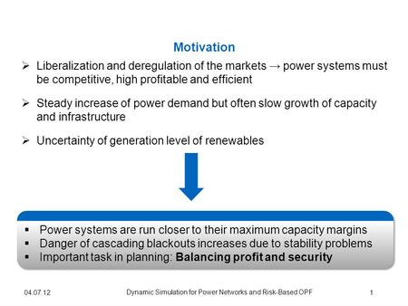 Liberalization and deregulation of the markets power systems must be competitive, high profitable and efficient Steady increase of power demand but often.