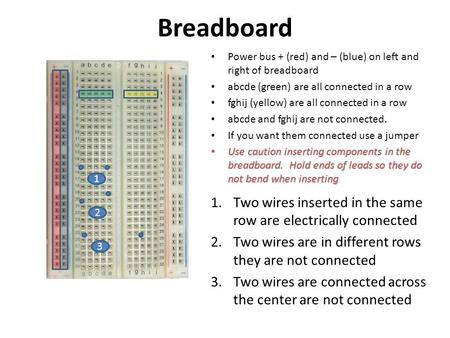 Breadboard Power bus + (red) and – (blue) on left and right of breadboard abcde (green) are all connected in a row fghij (yellow) are all connected in.
