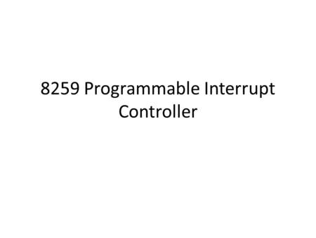 8259 Programmable Interrupt Controller. Block Diagram.