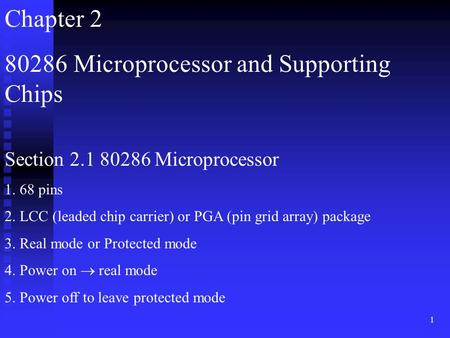 1 Chapter 2 80286 Microprocessor and Supporting Chips Section 2.1 80286 Microprocessor 1. 68 pins 2. LCC (leaded chip carrier) or PGA (pin grid array)