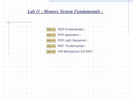 Lab 11 : Memory System Fundamentals : Slide #2 Slide #3 Slide #4 Slide #5 ROM Light Sequencer : RAM Fundamentals : ROM Fundamentals : ROM application :
