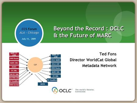 Beyond the Record : OCLC & the Future of MARC Ted Fons Director WorldCat Global Metadata Network CCS Forum ALA - Chicago July 11, 2009 CDF MARC 21- 2709.