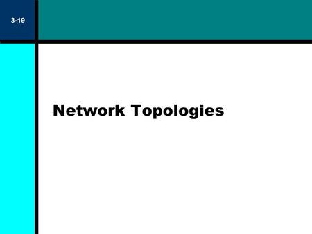 Network Topologies 3-19. 3-20 Free Topology Ring, star or combination layout of network media All except ring are polarity insensitive One terminator.
