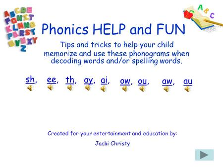 Phonics HELP and FUN Created for your entertainment and education by: Jacki Christy Tips and tricks to help your child memorize and use these phonograms.