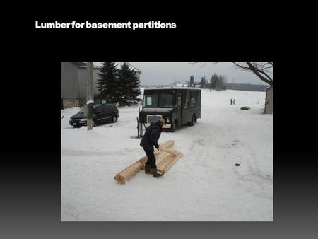 Lumber for basement partitions. Material for basement partitions.