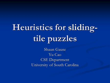 Heuristics for sliding-tile puzzles