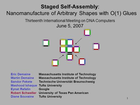 1 Thirteenth International Meeting on DNA Computers June 5, 2007 Staged Self-Assembly: Nanomanufacture of Arbitrary Shapes with O(1) Glues Eric DemaineMassachusetts.