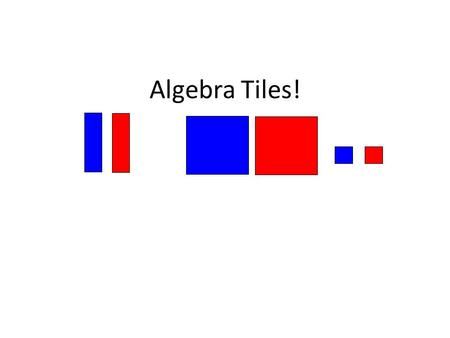 Algebra Tiles!. Modeling Algebra Middle school students are primarily concrete thinkers. Developmentally, most are not ready to think abstractly. Making.