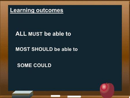 Learning outcomes ALL MUST be able to MOST SHOULD be able to SOME COULD.