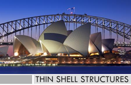 - The Sydney Opera House spans up to 164 feet. - The arches are supported by over 350km of tensioned steel cable. - The shell thickness goes from 3.