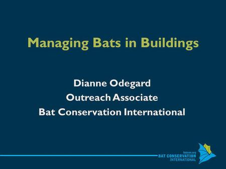 Managing Bats in Buildings Dianne Odegard Outreach Associate Bat Conservation International.