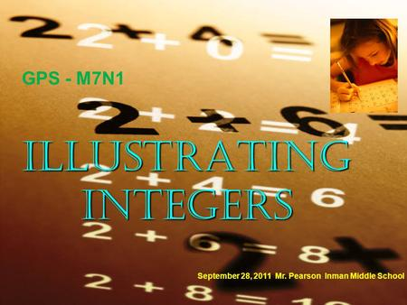 ILLUSTRATING INTEGERS September 28, 2011 Mr. Pearson Inman Middle School GPS - M7N1.