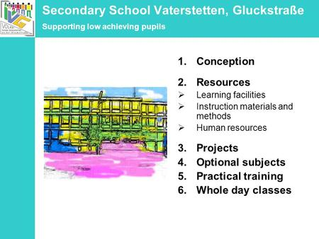 Secondary School Vaterstetten, Gluckstraße Supporting low achieving pupils 1.Conception 2.Resources Learning facilities Instruction materials and methods.