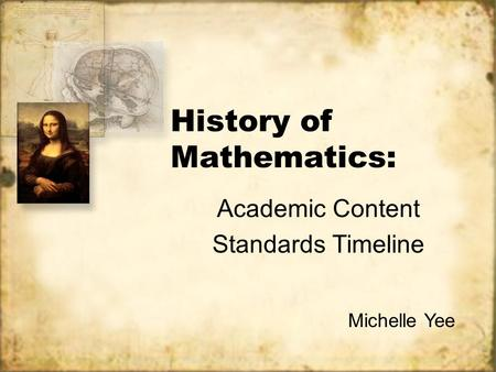 History of Mathematics: