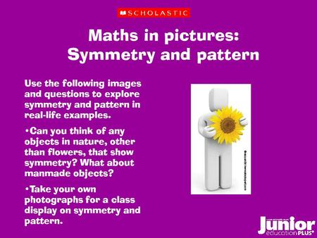 Maths in pictures: Symmetry and pattern Use the following images and questions to explore symmetry and pattern in real-life examples. Can you think of.