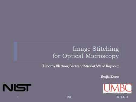 Image Stitching for Optical Microscopy