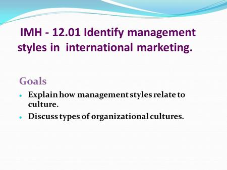 IMH Identify management styles in international marketing.