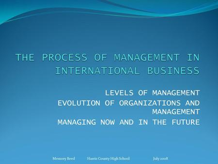 LEVELS OF MANAGEMENT EVOLUTION OF ORGANIZATIONS AND MANAGEMENT MANAGING NOW AND IN THE FUTURE Memory Reed Harris County High School July 2008.