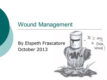 Wound Management By Elspeth Frascatore October 2013.