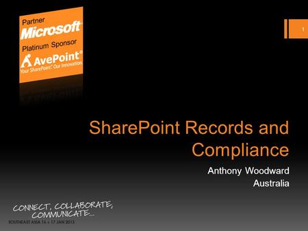 SharePoint Records and Compliance Anthony Woodward Australia 1.