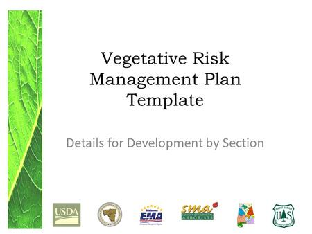 Vegetative Risk Management Plan Template Details for Development by Section.