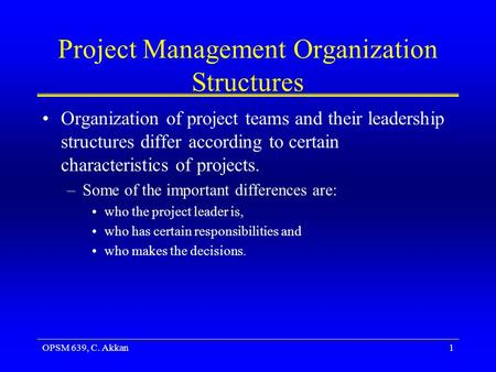 Project Management Organization Structures