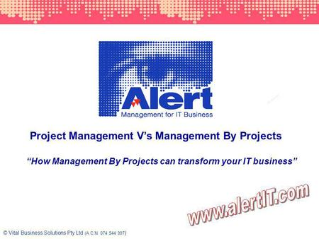 1 © Vital Business Solutions Pty Ltd (A.C.N. 074 544 997 ) Project Management Vs Management By Projects How Management By Projects can transform your IT.