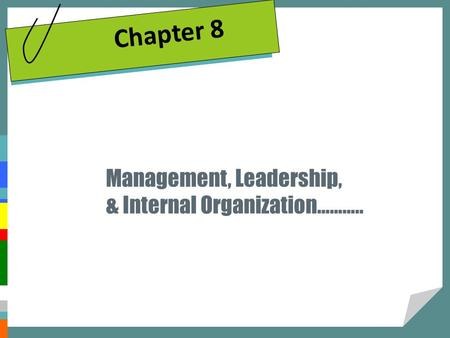 Management, Leadership, & Internal Organization……….. Chapter 8.